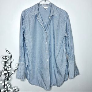 H&M Striped Tunic Length Blue Button Front Top